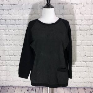 LOMA London Leather, Wool, & Cashmere Sweater Top
